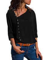 Plain Regular Button Standard Long Sleeve Blouse