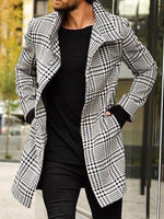 Long Button Plaid A Line Single-Breasted Coat