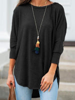 Three-Quarter Sleeve Round Neck Mid-Length Casual Loose T-Shirt