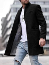Pocket Plain Mid-Length Straight Fashion Coat