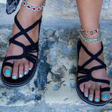 Slip-On Flat With Toe Ring Strappy Plain Casual Sandals