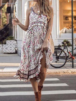 Sleeveless Scoop Mid-Calf Floral Pullover Dress