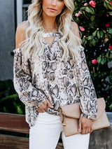 Print Serpentine Standard Long Sleeve Blouse