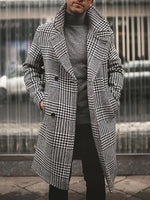 Button Mid-Length Plaid A Line Fall Coat