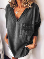 Three-Quarter Sleeve Plain V-Neck Loose T-Shirt