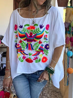 Embroidery Round Neck Mid-Length Half Sleeve Blouse