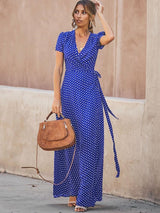 Ankle-Length Lace-Up V-Neck Pullover Polka Dots Dress