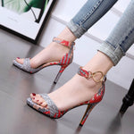 Line-Style Buckle Open Toe Heel Covering Stiletto Heel Low-Cut Upper Woven Sandals