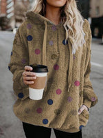 Polka Dots Zipper Long Sleeve Mid-Length Hoodie