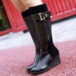 Round Toe Wedge Heel Plain Side Zipper Casual Short Floss Boots