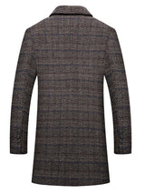 Plaid Notched Lapel Mid-Length Casual Single-Breasted Coat