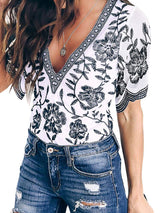 Print Color Block V-Neck Short Sleeve Standard Blouse