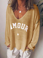V-Neck Mid-Length Letter Casual Loose T-Shirt