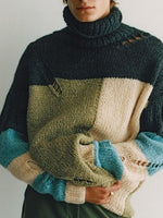 Turtleneck Standard Color Block Fall Loose Sweater