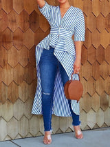 Stripe Patchwork V-Neck Long Half Sleeve Blouse