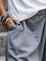 Plain Loose Baggy Pants Mid Waist Casual Pants