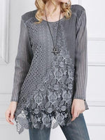Plain Round Neck Regular Long Sleeve Mid-Length Blouse