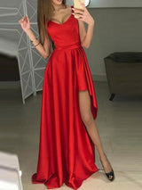 A-Line V-Neck Red Floor-Length Evening Dress