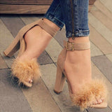 Summer Women Pumps T-stage Fur Buckle Strap Open Toe Sandals