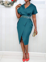 V-Neck Short Sleeve Knee-Length High Waist Pullover Dress