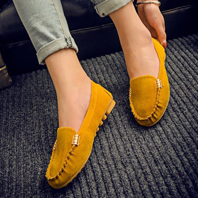 Slip-On Round Toe Flat Heel Plain Thin Shoes