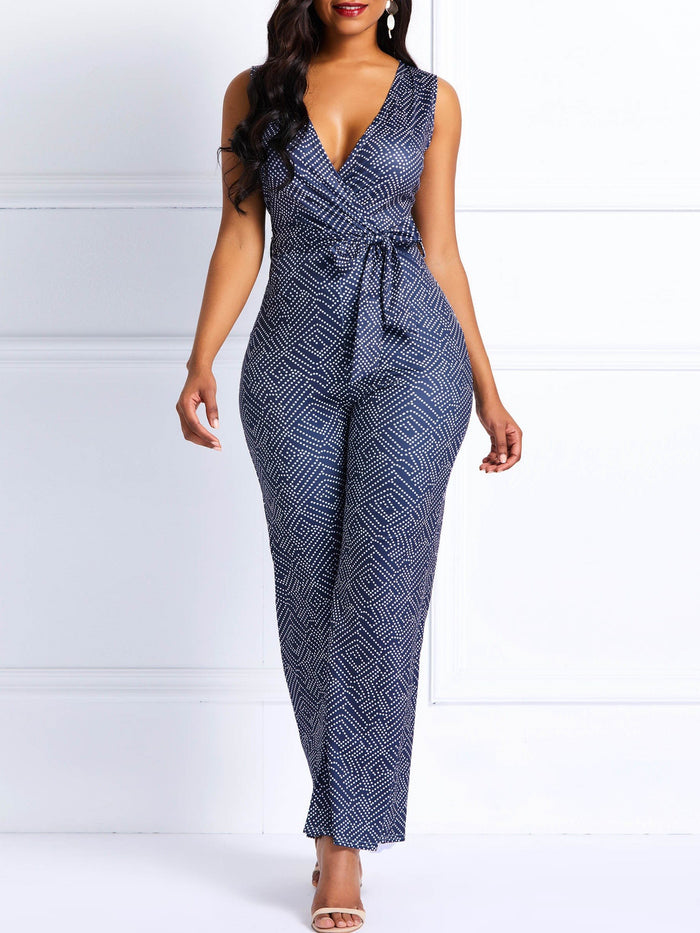 Print Geometric Full Length High Waist Slim Jumpsuit