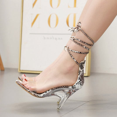 Heel Covering Open Toe Stiletto Heel Lace-Up Cross Strap Casual Sandals