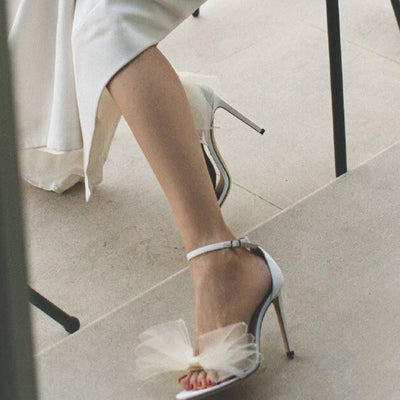 Round Toe Stiletto Heel Heel Covering Buckle Casual Plain Sandals