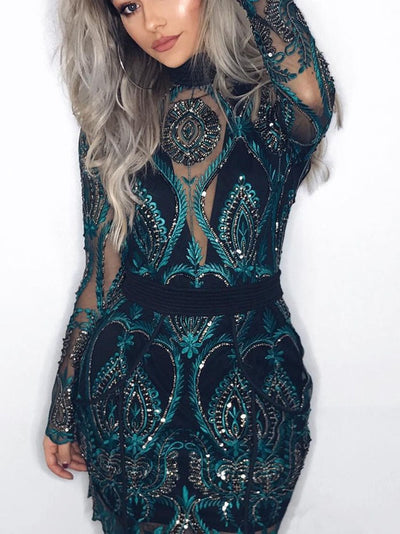 Long Sleeve Sequins Stand Collar Standard-Waist Party/Cocktail Dresses