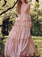 Long Sleeve Floor-Length Patchwork Sweet A-Line Dress