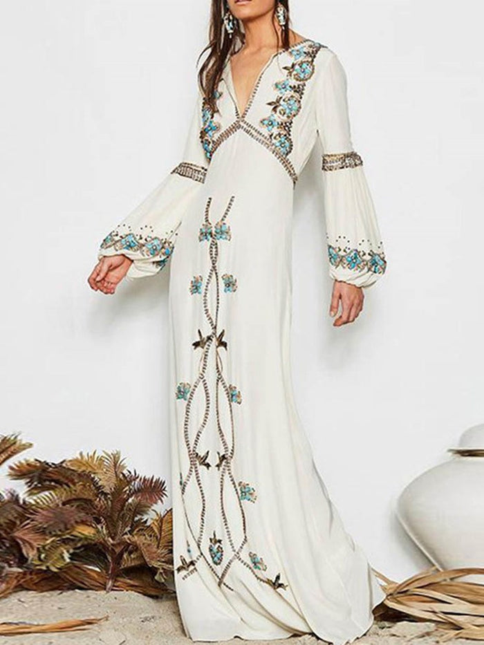 Print Ankle-Length Long Sleeve Pullover Fashion Dress