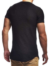 Plain Round Neck European Short Sleeve Slim T-shirt