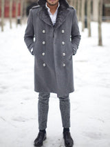 Mid-Length Plain Button Fashion Double-Breasted Coat