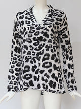 Regular Print Leopard Mid-Length Long Sleeve Blouse