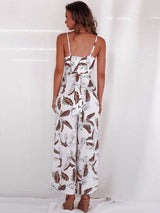 Patchwork Plant Simple Slim Wide Legs Jumpsuits