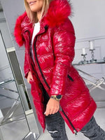 Thick Loose Patchwork Mid-Length Cotton Padded Jacket