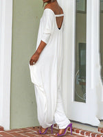 Full Length Backless Fashion Baggy Pants High Waist Jumpsuit