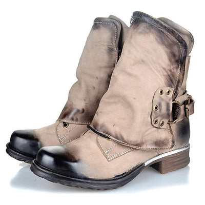 Block Heel Round Toe Side Zipper Cotton Casual Boots