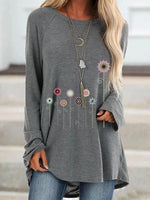 Floral Long Sleeve Mid-Length Loose Casual T-Shirt