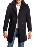 Button Plain Mid-Length Casual Fall Coat