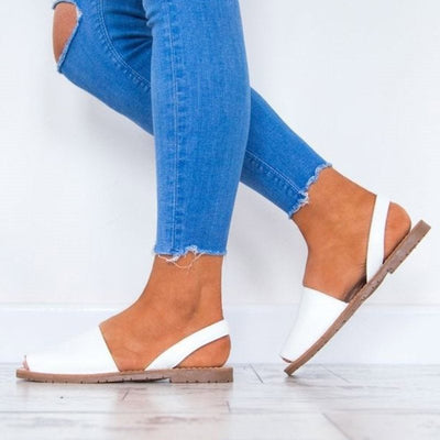 Block Heel Slingback Strap Peep Toe Slip-On Low-Cut Upper Casual Sandals