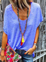 Short Sleeve Mid-Length V-Neck Simple Loose T-Shirt