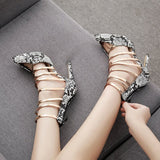 Pointed Toe Serpentine Zipper Stiletto Heel 11.5cm Casual Thin Shoes