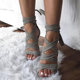 Open Toe Lace-Up Strappy High-Cut Upper Casual Sandals