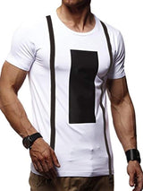 Print Round Neck Color Block Slim Short Sleeve T-shirt