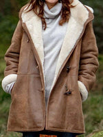Regular Horn Button Loose Mid-Length Hooded Overcoat