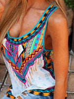 Print Summer Cotton Mid-Length Tank Top