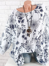 Round Neck Mid-Length Plant Casual Loose T-Shirt