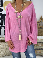 V-Neck Plain Mid-Length Loose Fall T-Shirt