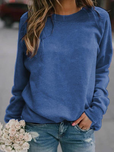 Standard Long Sleeve Round Neck Loose Fall T-Shirt